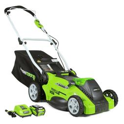 Greenworks 16-Inch 40V Cordless Lawn Mower, 4.0 AH Battery I