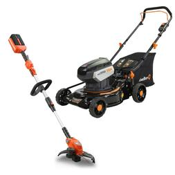 COMBO! 40 Volt Cordless 18 Inch Lawn Mower Kit AND String Tr