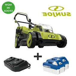 Cordless Electric Walk Behind Push Lawn Mower Kit with 2 Bat