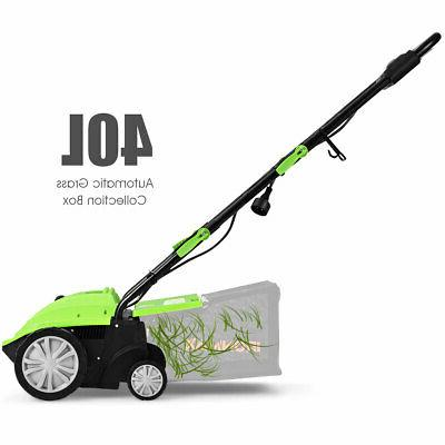 12Amp Corded Scarifier Electric Lawn Dethatcher Collection Bag