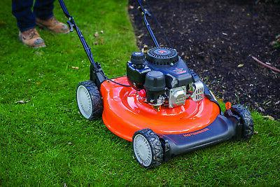 push gas mower with side discharge