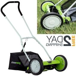Manual Lawn Mower Grass Catcher Hand Push Reel Dual Wheel Ha