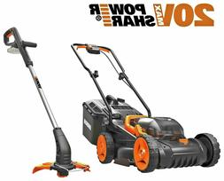 New WORX Cordless Lawnmower and Trimmer - 20V - Twin Pack.