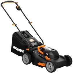 "**NEW WORX WG743 2X20V 17"" 4.0Ah Lawn Mower w/ Powershare Mu"