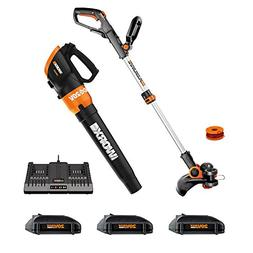 "Worx WG921.1 Cordless 20V 12"" Trimmer and TURBINE 20V Cord"